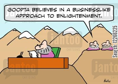 businesslike cartoon humor: 'Goopta believes in a businesslike approach to enlightenment.'