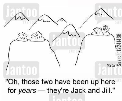jack and jill cartoon humor: 'Oh, those two have been up here for years -- they're Jack and Jill.'