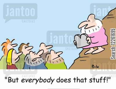 rules and regulations cartoon humor: 'But everybody does that stuff!'