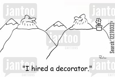 mountain guru cartoon humor: 'I hired a decorator.'