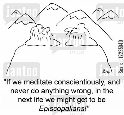 episcopalians cartoon humor: 'If we meditate conscientiously, and never do anything wrong, in the next life we might get to be Episcopalians!'