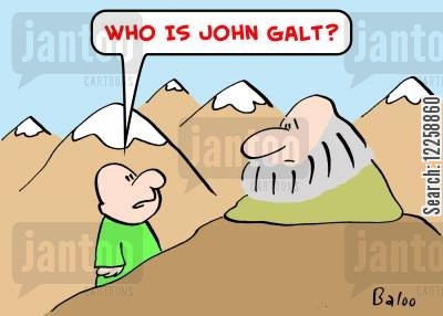 ayn rand cartoon humor: 'Who is John Galt?'