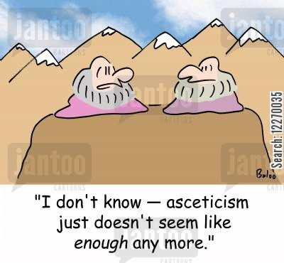 ascetic cartoon humor: 'I don't know - asceticism just doesn't seem like ENOUGH any more.'