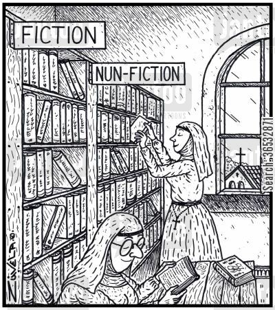genres cartoon humor: Visual Gag Fiction Nun-fiction nuns in a nunnery library choosing and reading books for nuns