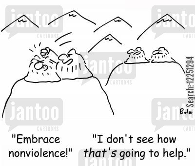 nonviolence cartoon humor: 'Embrace nonviolence!', 'I don't see how THAT'S going to help.'