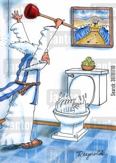 blocked toilet cartoon humor: Moses unblocking the toilet.