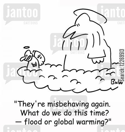divine wrath cartoon humor: 'They're misbehaving again. What do we do this time? - flood or global warming?'