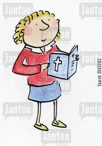 evensong cartoon humor: Girl with Bible.