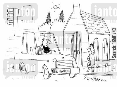 number plates cartoon humor: Sin Happens
