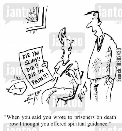 writing letters cartoon humor when you said you wrote to prisoners on death row