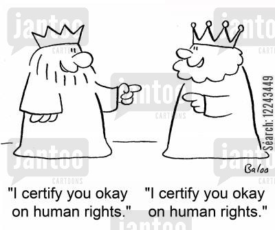 okay cartoon humor: 'I certify you okay on human rights.', 'I certify you okay on human rights.'