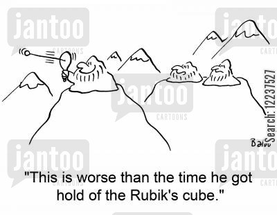 rackets cartoon humor: 'This is worse than the time he got hold of the Rubik's cube.'