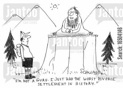 enlightened one cartoon humor: 'I'm not a guru. I just had the worst divorce settlement in history.'