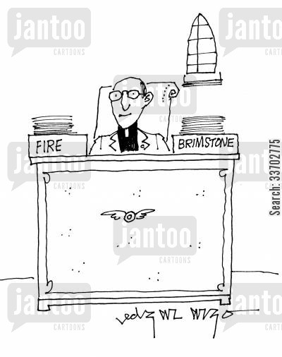 chistians cartoon humor: Fire and Brimstone.