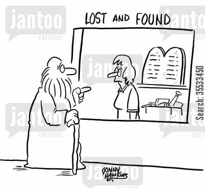 lost and found booth cartoon humor: Moses at 'Lost and Found' points to big tablets