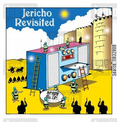falling wall cartoon humor: Jericho revisited.