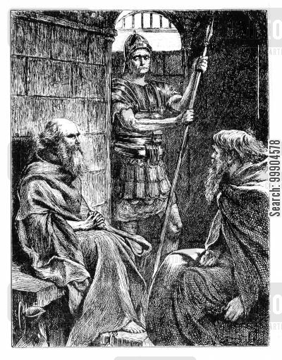 roman guards cartoon humor: Saint Paul in a Roman prison cell with Onesimus.