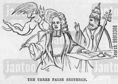 presbyterian cartoon humor: The Three False Brethren - Henry Sacheverell with the Devil and the Pope