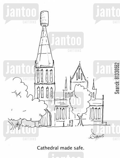 cork cartoon humor: Cathedral Made Safe.