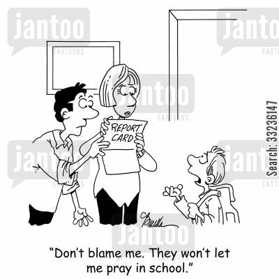 aids cartoon humor: 'Don't blame me. They won't let me pray in school.'