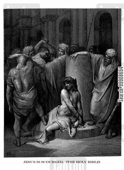 bible cartoon humor: Jesus is Scourged (The Holy Bible).