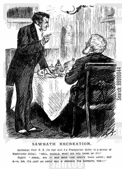 sabbath recreation cartoon humor: Presbyterian Butler