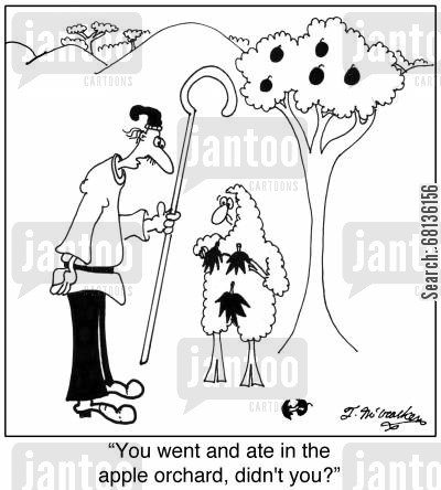 nakedness cartoon humor: 'You went and ate in the apple orchard, didn't you?'