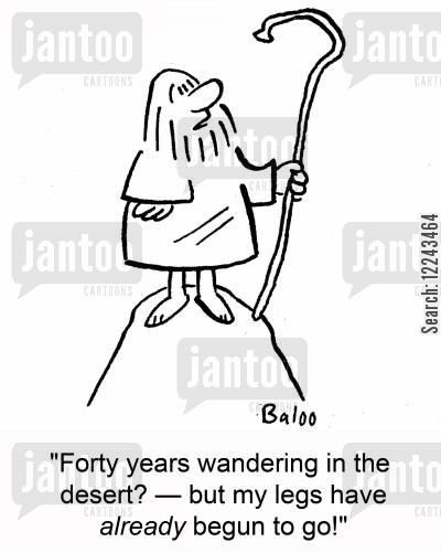 forty years cartoon humor: 'Forty years wandering in the desert? -- but my legs have already begun to go!'