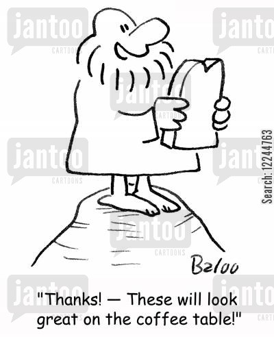 coffee table cartoon humor: 'Thanks! -- These will look great on the coffee table!'