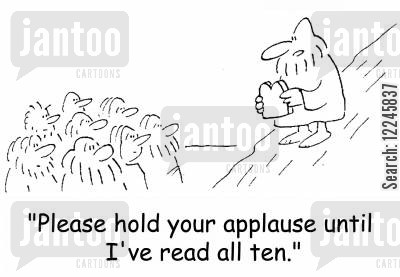 claps cartoon humor: 'Please hold your applause until I've read all ten.'