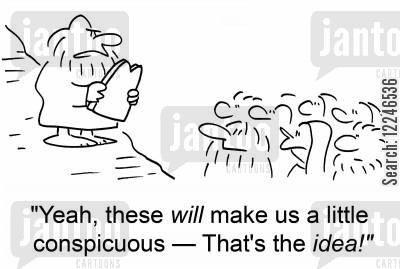 conspicuous cartoon humor: 'Yeah, these will make us a little conspicuous -- That's the idea!'