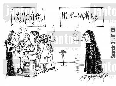 non smoking cartoon humor: SmokingNun Smoking.