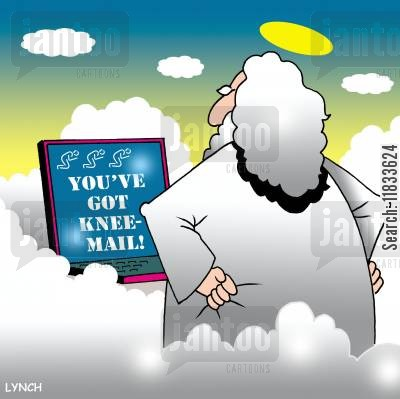 kneeling cartoon humor: Knee-Mail