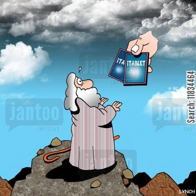 israelites cartoon humor: Moses and the iTablets