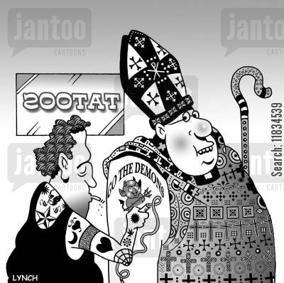 tattooists cartoon humor: Tattoo Parlour: A Bishop gets a 'Go the Demons' tat.