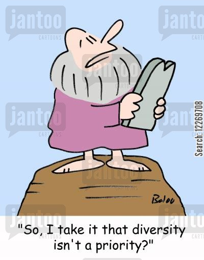 diversity cartoon humor: 'So, I take it that diversity isn't a priority?'