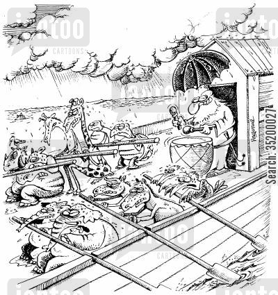 slave ship cartoon humor: Noah and his galley slaves