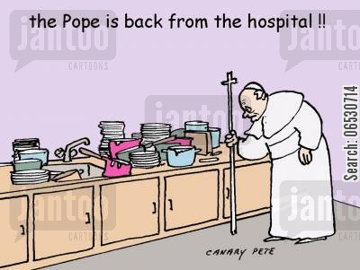 get well soon cartoon humor: The Pope is back from the hospital!
