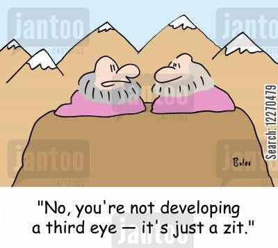 acne cartoon humor: 'No, you're not developing a third eye - it's just a zit.'