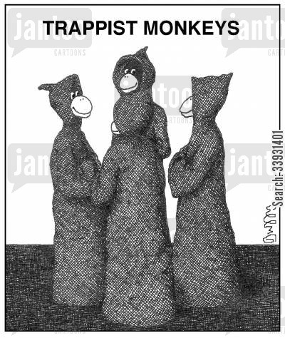 trappist monk cartoon humor: Trappist Monkeys.
