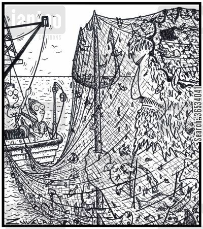 fishing net cartoon humor: A not-so-happy King Neptune caught up in a Trawlerman's fishing net.