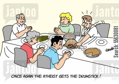 give thanks cartoon humor: Once again the atheist gets the drumstick!