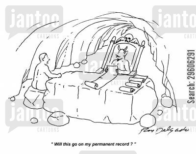 sinned cartoon humor: 'Will this go on my permanent record?'