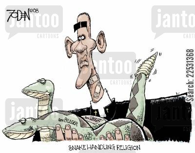 barack cartoon humor: Snake Handling religion.
