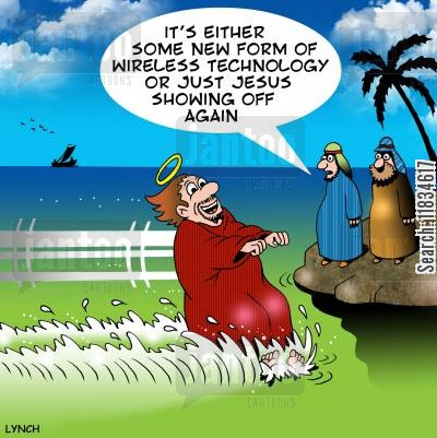 speed boats cartoon humor: 'It's either some new form of wireless technology or just Jesus showing off again.'