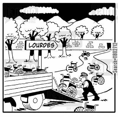 apparitions cartoon humor: Lourdes - wheelchairs left behind.
