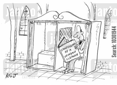 confessional cartoon humor: Priest reading 'Confessions of a Window Cleaner'.