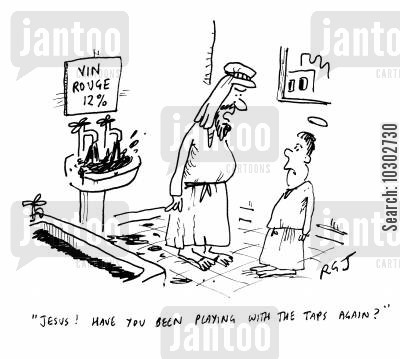 scold cartoon humor: 'Jesus! Have you been playing with the taps again?'