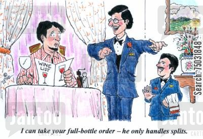 dwarf cartoon humor: 'I can take your full-bottle order - he only handles splits.'