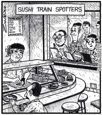 nerds cartoon humor: Sushi Train Spotters